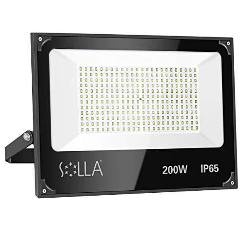 Luces de Seguridad 200W, Reflector LED Súper Brillante de 16000 Lúmenes, Luz Blanca 5000K, Foco de Paisaje Anti-rayos para Exterior Patio Trasero Jardín Azotea