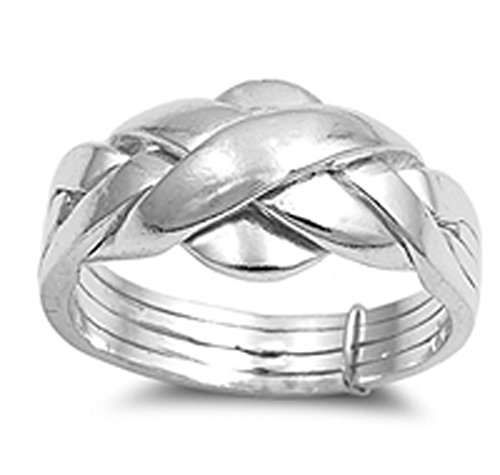 Sterling Silver Women's Puzzle Braid New Ring Polished 925 Band 11mm Size 10