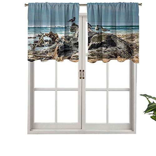 Hiiiman Rod Pocket Curtain Valances A Raft of Driftwood on The Shoreline with Seagulls, Set of 2, 42'x24' Thermal Insulated for Living Room