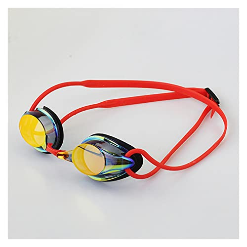 CHENGCHAO Gafas de natación Competencia para Adultos Silicona Ajustable Impermeable Anti Fog Gafas de natación Racing Gafas Proteger (Color : Red)