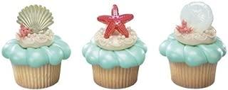 Beach Seashell Sand Dollar and Starfish Cupcake Rings - 24 ct