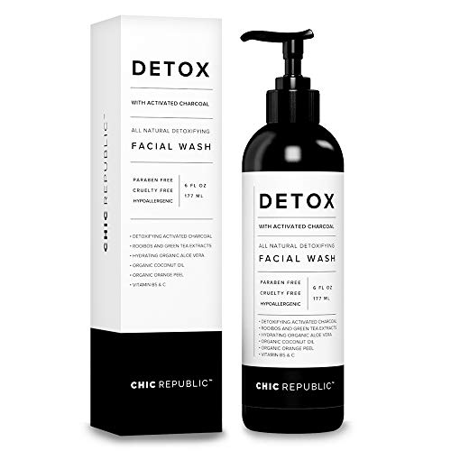 All Natural Activated Charcoal Facial Cleanser - Organic Daily Acne Treatment, Face Wash for Smooth Skin, Pore Minimizing Facewash, Anti Aging Skin Rejuvenation, Aloe Vera Gel, Coconut Oil