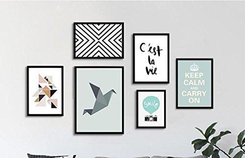 MFFACAI Foto Wand Einfach Geometrie Massivholz Bilderrahmen Hängende Gemälde Dekorative Gemälde Wandgemälde 6 Combo Zeichnen Wohnzimmer Sofa Wand Hintergrund 160 * 100 cm