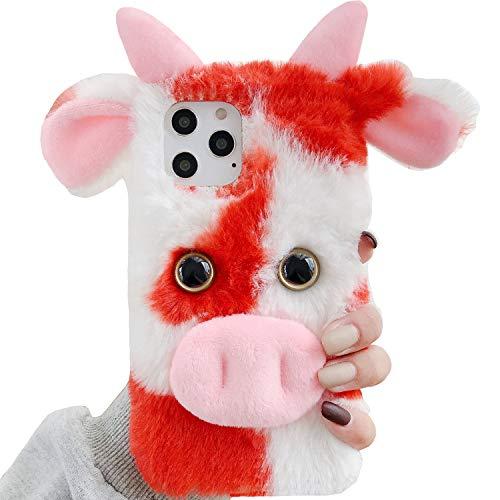 TAITOU Funda para LG K8 Phoninx2 Escape3 US375 K350 K371, hecha a mano con suave lana de Villi Lindo cabeza de vaca, funda suave y ligera, fina protección para teléfono LG K8, color rojo