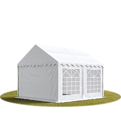 TOOLPORT Party-Zelt Festzelt 3x4 m feuersicher Garten-Pavillon -Zelt ca. 500g/m² PVC Plane in weiß Wasserdicht