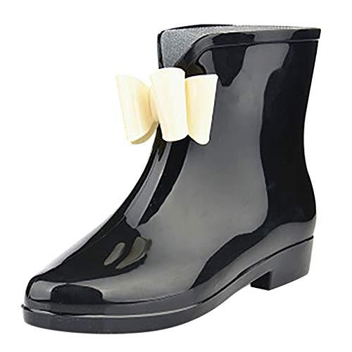 Dorical Damen Regenstiefel Gummistiefel Kurzschaft Stiefel Kurzschaft Ankle Stiefeletten Gummistiefeletten Blockabsatz Boots Rain Schuhe mit Bow,Gr 36-40(Schwarz,37 EU)