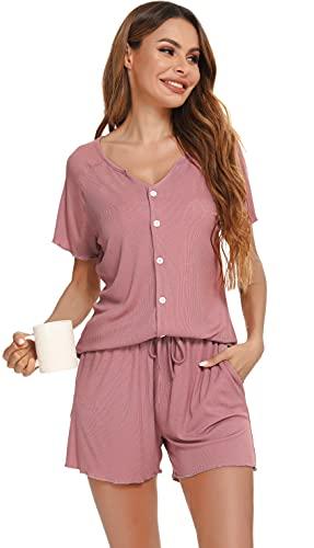Vlazom Pijamas Mujer Verano Camisones Mujer de Cuello en V Camiseta Mujer Manga Corta de Dormir y Pantalones Cortos con Cordón y Bolsillos Pijamas de Mujer S-XXL