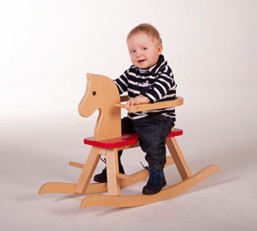 roba Schaukelpferd, Schaukeltier Massivholz natur rot, Schaukelstuhl mitwachsend für Babys und Kleinkinder durch abnehmbaren Schutzring - 2