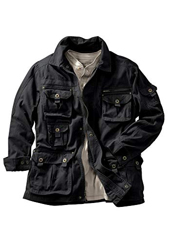 Boulder Creek by Kingsize Men's Big & Tall Multi-Pocket Twill Jacket - Big-2Xl, Black