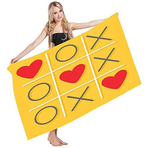 Paños De Baño,Toalla De Playa,Toalla Secado Rápido,Toallas De Baño,Love Tic TAC Toe Game Xoxo Déjame Besarte San Valentín Romántico