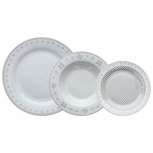 Tognana Vichy - Vajilla de 18 piezas, porcelana, beige