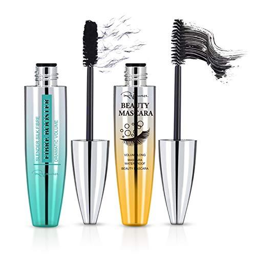 4D Silk Fiber Lash Mascara & Mascara Black - 2pcs Set, Waterproof, Luxuriously Longer, Thicker, Voluminous Eyelashes, Long-Lasting, Dramatic Extension, Smudge-proof, Hypoallergenic Formula