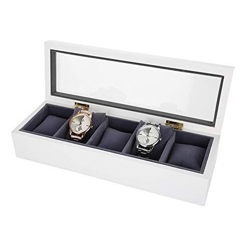 Uhrenbox Vitrine, 5 Slot Glas Aufbewahrungsbox Organizer Uhr Schmuck Display Box(Weiß)
