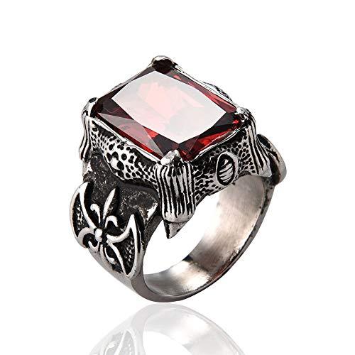 WLXW Anillo de Acero Inoxidable 316, Anillo de Compromiso con Incrustaciones de Diamantes Rojos de la Moda Nórdica Vikinga, Anillo de Aniversario de Joyería de Moda para Hombres Y Mujeres,12