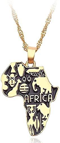 Collar Mujer Collar Hombre Collar África Mapa Collar Bandera Totem Símbolo Animal Elefante Colgante Cadena de color dorado Mapas africanos Collares Mujeres Hombres Gargantilla Joyería Regalo Niñas Niñ