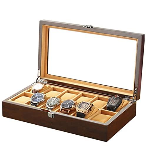 ROSG Storage Box - Wood Glass Watch Box Jewelry Watch Box Storage Box Display Box 12 Pack