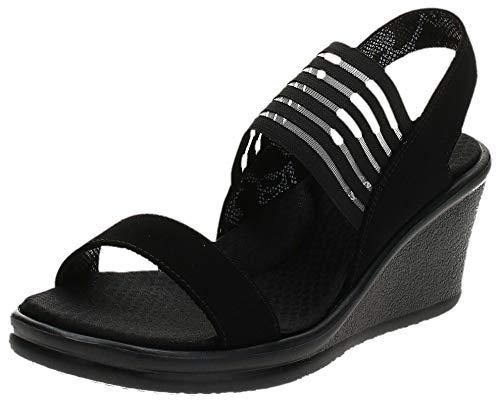 Skechers Cali Women's Rumblers Sci Fi Wedge Sandal,black,6.5 M US