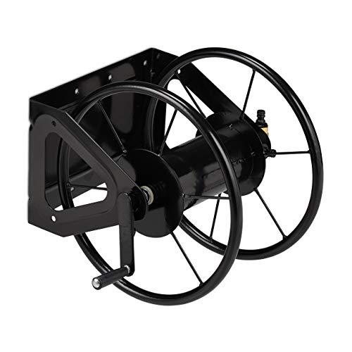 Relaxdays Schlauchaufroller, Schlauchtrommel mit Handkurbel, für 60 m Schlauch, Stahl, HxBxT: 41,5 x 54 x 45 cm, schwarz