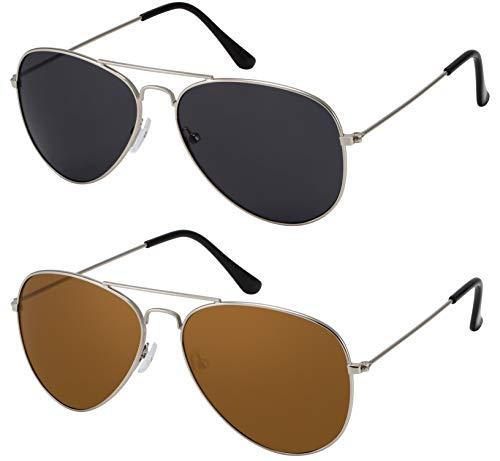 La Optica B.L.M. Herren Sonnenbrillen Damen UV400 Pilotenbrille Fliegerbrille 70er Jahre - Doppelpack Set Silber Farben (Gläser: 1 x Grau, 1 x Braun)