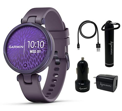 Garmin Lily Women's Fitness Sport Smartwatch with Wearable4U Power Pack Bundle (Midnight Orchid Bezel with Deep Orchid...