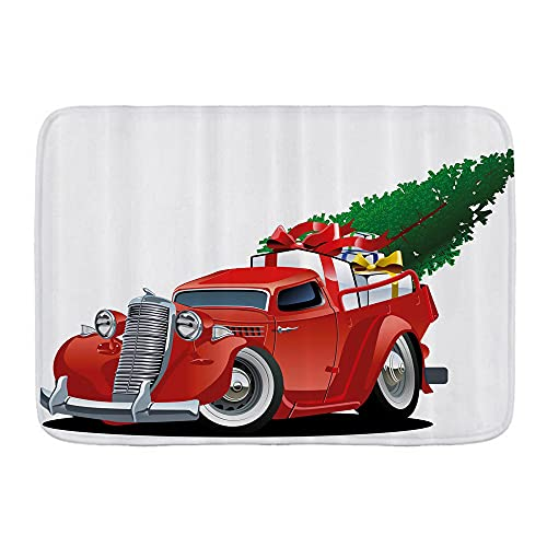 LONSANT Badematte,Amerikanischer Weihnachtslastwagen mit großem Weihnachtsbaum und Geschenkboxen-Abhol-Retro-Fahrzeug,rutschfest Supersaugfähig Badteppich Badvorleger Waschbar Badematten,45x75 cm