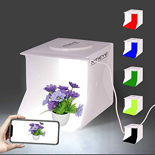 Mini Photo Studio Box, 9 x 9 Inches Shooting Tent Kit, Foldable Photography Booth With 2 x 20 LED...