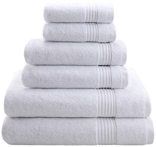 Hotel & Spa Quality, Absorbent & Soft Decorative Kitchen & Bathroom Sets, 100% Turkish Genuine Cotton 6 Piece Towel Set, Includes 2 Bath Towels, 2...