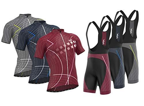 FDX Classic II - Pantaloncini da ciclismo da uomo, con bretelle imbottite, taglia M, colore: grigio argento