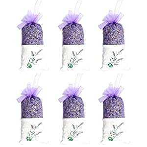 TooGet Lavender Sachets Dried Lavender Flowers Sachets, Lavender Scented Sachet Fresh Dried Lavender Bags – Pack of 6