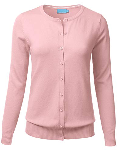 FLORIA Women's Button Down Crew Neck Long Sleeve Soft Knit Cardigan Sweater Dustypink L
