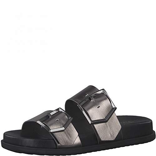 Tamaris Femme Mules, Dame Sabots,Touch It,Pantoufle,Slides,Sandale,Chaussure d'été,Chaussure de Loisir,Pewter,41 EU / 7.5 UK