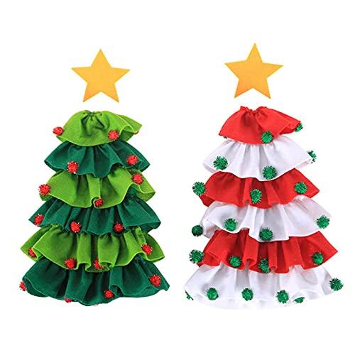 AUTUUCKEE Cubiertas para botellas de vino, cubierta para bolsa de botella de árbol de Navidad, linda decoración de mesa, decoración de mesa botella de vino (2 unidades)
