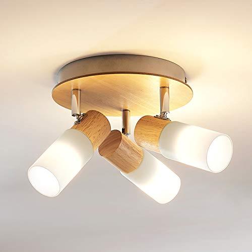 Lindby LED Deckenlampe 'Christoph' (Landhaus, Vintage, Rustikal) aus Holz u.a. für Schlafzimmer (3 flammig, E14, A+, inkl. Leuchtmittel) - Deckenleuchte, Wandleuchte, Strahler, Spot, Lampe