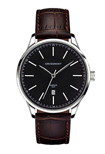 Crossmont Amalfi, orologio con calendario nero quadrante analogico display e cinturino in pelle marrone scuro CW0110507