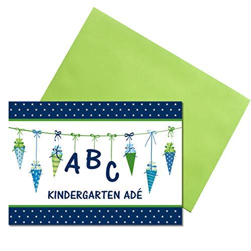 Kreatives Herz - ABC Einladungskarten zur Einschulung (10er Set - A6) mit grünen Umschlägen für Jungen Einladungen Schulanfang Kinder Party 1. Schultag Schultüte Zuckertüte grün blau