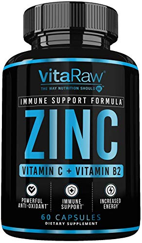 Zinc Supplements 50mg with Vitamin C for Immune Support | Zinc 50mg Immune Booster Formula | Zinc Vitamins for Adults | The Ultimate Zinc Supplement Immunity Booster | Zinc Capsules + Vitamin C & B2