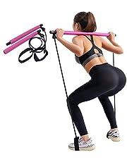 Wuudi Draagbare Pilates Bar Kit, Sit-Up Stangweerstandsband, fysiotherapie-oefenband, geschikt voor yoga, stretchoefeningen.