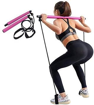 Wuudi Portable Pilates Bar Kit Sit Up Bande de R/ésistance de Barre de R/ésistance de la Physioth/érapie Bande dexercice Convient pour Yoga Exercices d/étirement