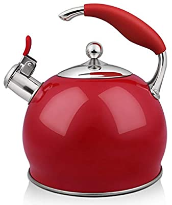 RETTBERG Tea Kettle for Stove Top, 2.64 Quart Food Grade Stainless Steel Whistling TeaPot With Anti-hot silicone handle (RED)