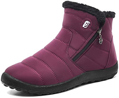 Scurtain Womens Snow Boots Anti-Skid Comfort Winter Booties Red 8.5 Women/7.5 Men