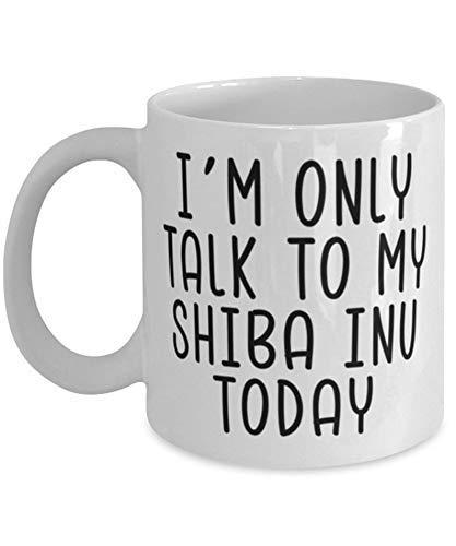 Eastlif Taza de Shiba Inu, Solo Hablo con mi Shiba Inu, Divertida Idea de Regalo de Shiba Inu, Taza de café Blanca de 11 oz