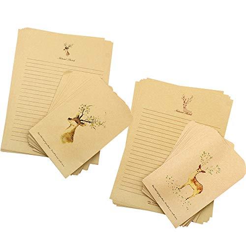 80 Stück Vintage Briefpapier Brown Kraft Briefpapier und Umschläge mit Hirschdruckmuster für Gastgeschenke Samen Schmucktüten Adventskalender Basteln Tüten Weihnachten
