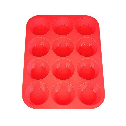 Silicone Muffin Pan, Silicone Muffin Tin for Cupcake Baking Cups Non Stick, 12 Cups Silicone Molds(Red)