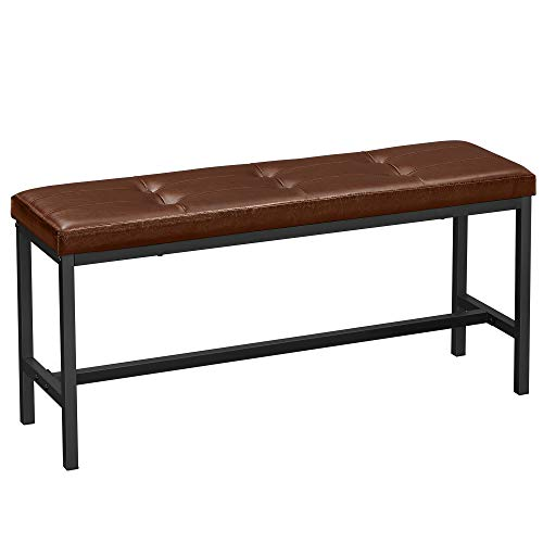 VASAGLE Esszimmerbank, gepolsterte Sitzbank, Küchenbank, 108 x 32,5 x 48 cm, PU-Bezug, Stahlgestell, für Esszimmer, Wohnzimmer, Flur, braun-schwarz KTB034B82