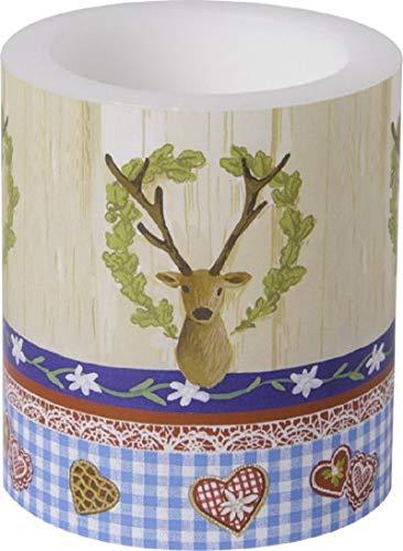 Stumpen-Kerze BAYERISCHE GEMÜTLICHKEIT Wind-Licht / Tisch-Dekoration / Tisch-Läufer / Motto-Party Bayern / Oktoberfest / Geburtstags-Deko