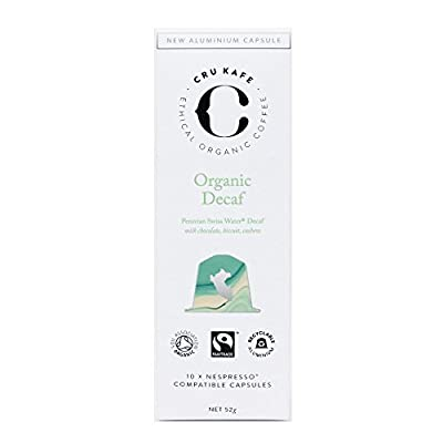 CRU Kafe Organic Decaf Coffee Capsules | Nespresso Compatible Coffee Pods | Single Origin Decaf Roast | Strength 6 | Vibrant & Deep | Organic, Fairtrade & 100% Recyclable Coffee Capsules - 60 Pods