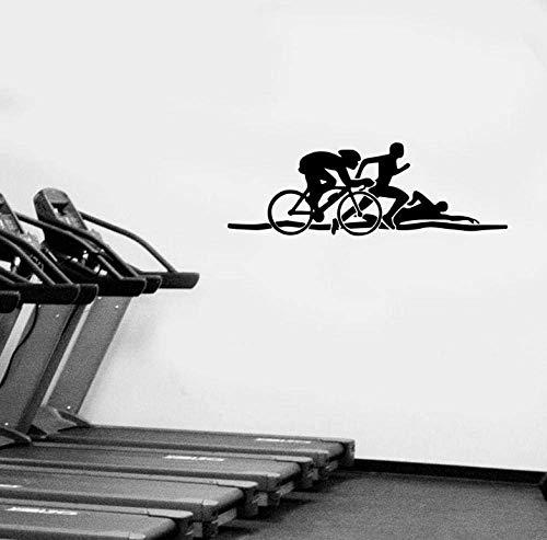 Wandaufkleber Radfahren Laufen und Schwimmen Figuren Sportraum Home Decor Wandtattoos