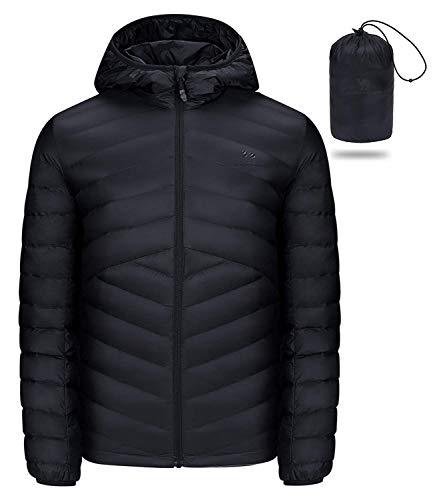 CAMEL CROWN Doudounes de Randonnée Homme Emballable Encapuchonné Classique Backpacking Léger Down Jacket pour Voyage en Plein Air