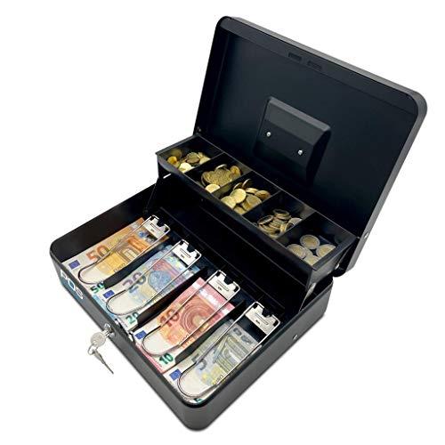 Caja para valores, portátil, con bandeja para monedas y muelles de acero, para sujetar billetes, cerradura de seguridad, 30 x 24 x 8,5 cm