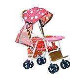sillas de paseo Bamboo Rattan Stroller Verano puede acostar los cochecitos de ratán Bambú Silla de mimbre Bebé puede sentarse y doblar el auto infantil Cochecito de bebé ( Color : Red , tamaño : B )